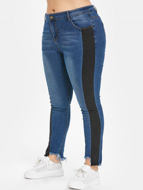 Plus Size Two Tone Frayed Hem Jeans - DENIM DARK BLUE 1X