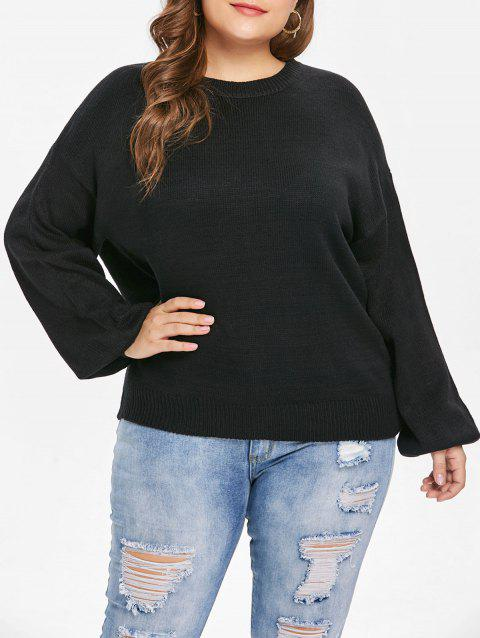 Pull grande taille à manches bouffantes - Noir ONE SIZE