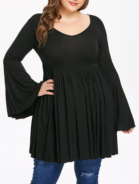 Plus Size Bell Sleeve Flare Dress - BLACK 1X