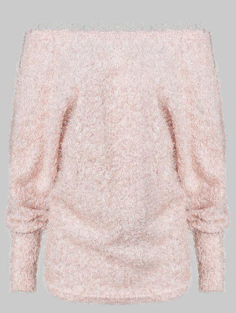 Off Shoulder Batwing Sleeve Fluffy Sweater - PINK M