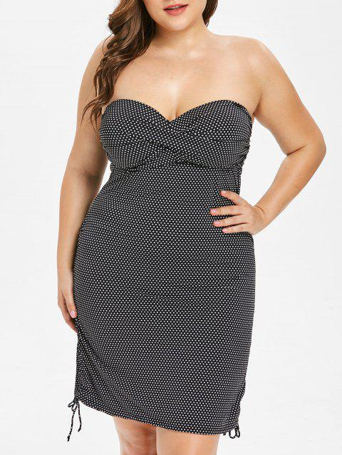 Plus Size Off The Shoulder Polka Dot Ruched Tankini Set - BLACK 3X