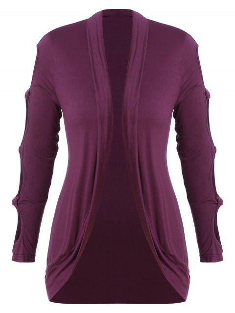 Plus Size Cutout Sleeve Outerwear - RED WINE 3X