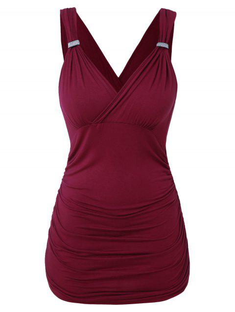 Plus Size Sequin Knot Pleated Tank Top - RED WINE 5X