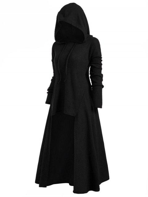 Hooded Plus Size High Low Sweater - BLACK 2X