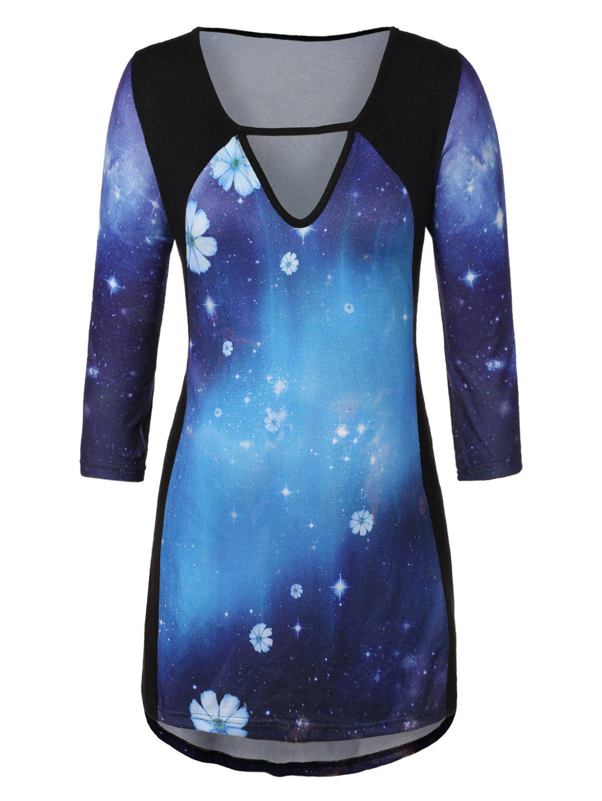 Plus Size 3D Starry Sky Print Keyhole T-shirt - multicolor L
