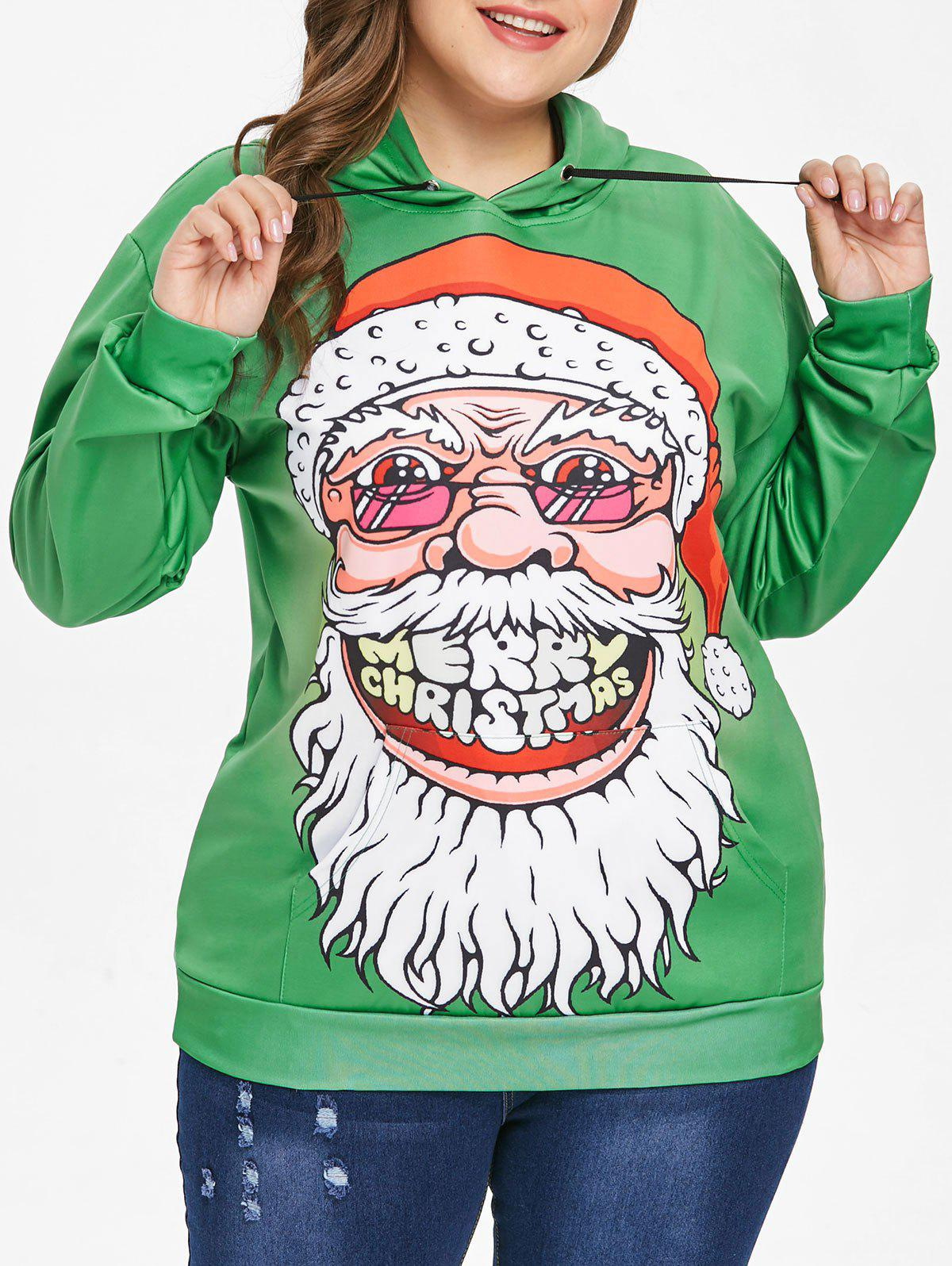 Plus Size Ugly Father Christmas Hoodie - GREEN 1X