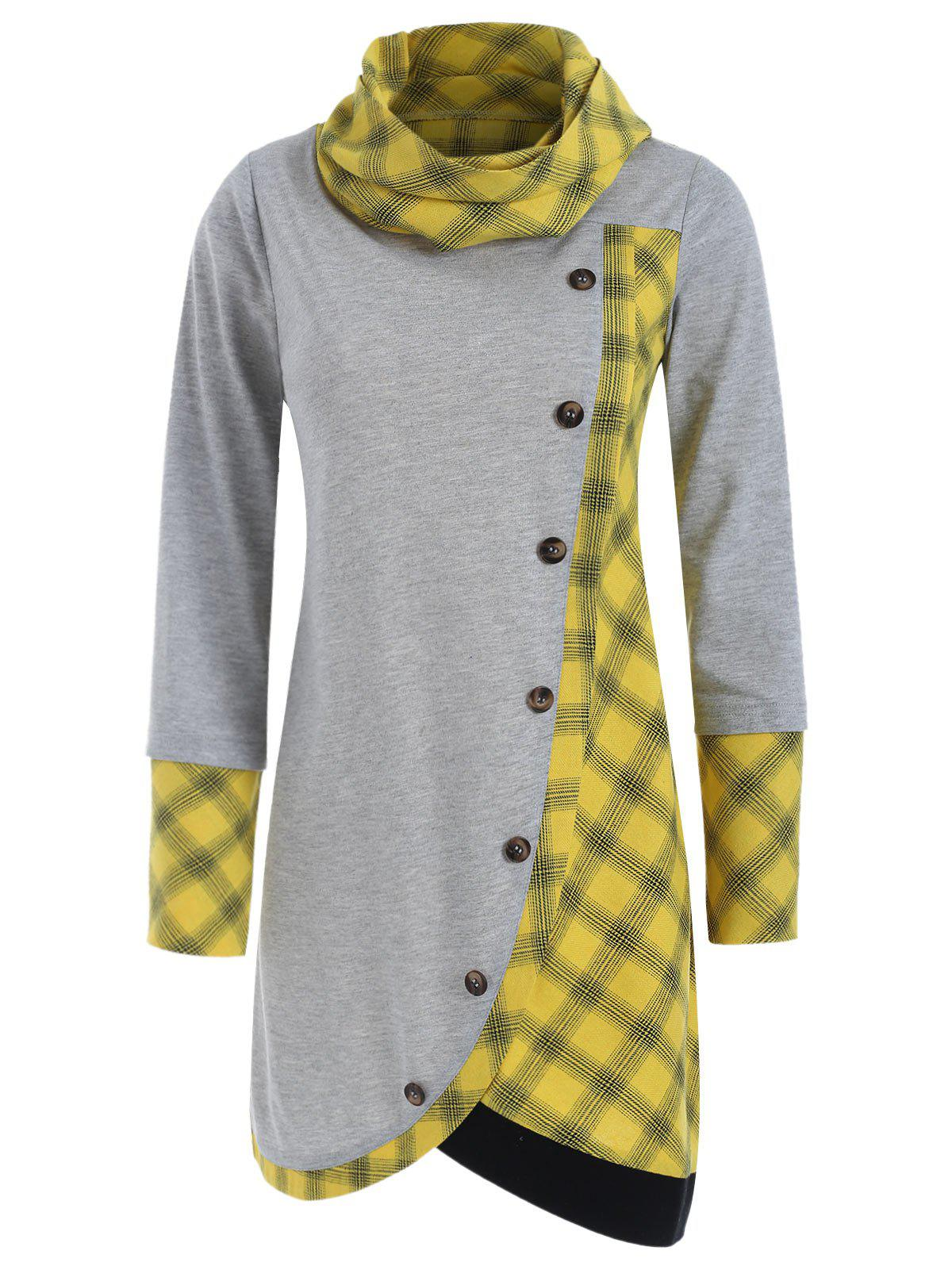 Plaid Insert Long Sleeve Asymmetrical T-shirt