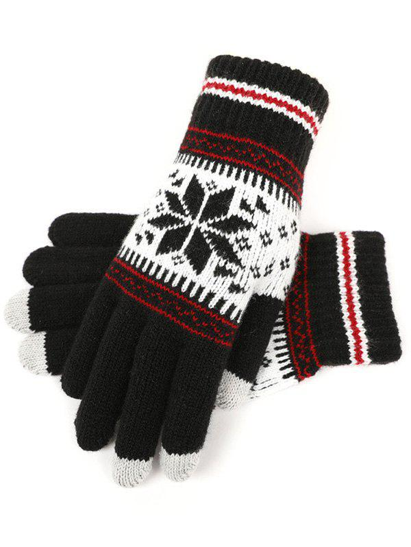 Snowflake Jacquard Knit Gloves - BLACK
