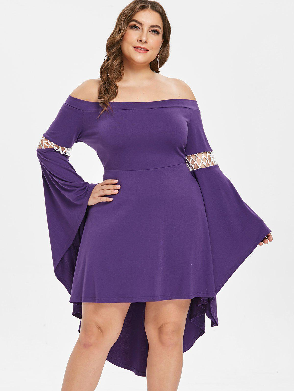 Flare Sleeve Plus Size High Low Dress