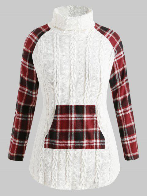 Plus Size Turtleneck Cable Knit Sweater with Plaid - WHITE 3X
