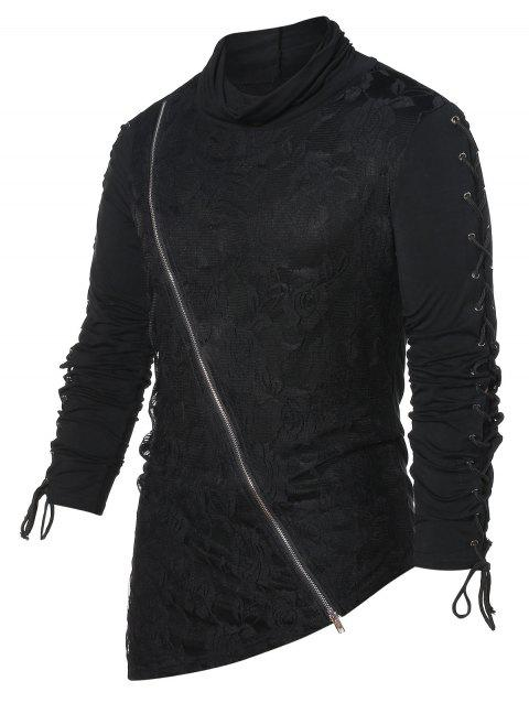 Asymmetric Lace Panel Turtle Neck T-shirt - BLACK 2XL