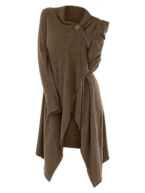 One Button Asymmetrical Long Cardigan - WOOD 2XL