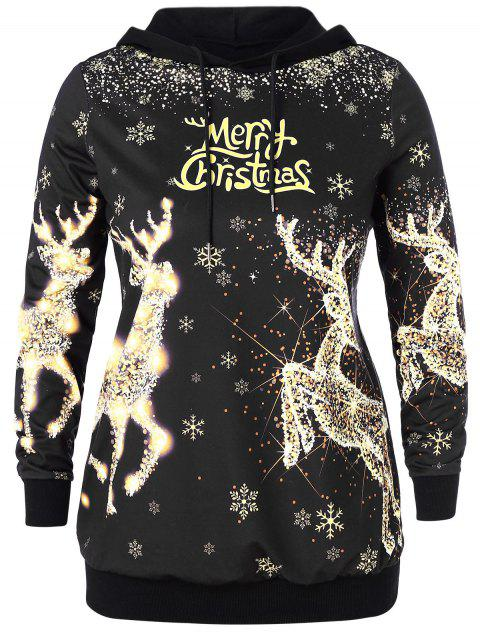 Plus Size Christmas Elk and Letter Print Hoodie - BLACK 3X