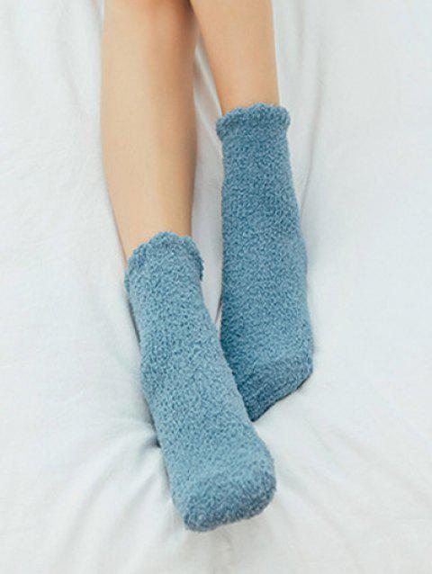 Solid Color Winter Fuzzy Socks - MEDIUM TURQUOISE