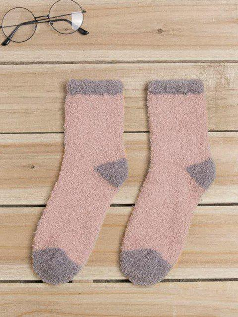 Color Block Fuzzy Socks - PINK