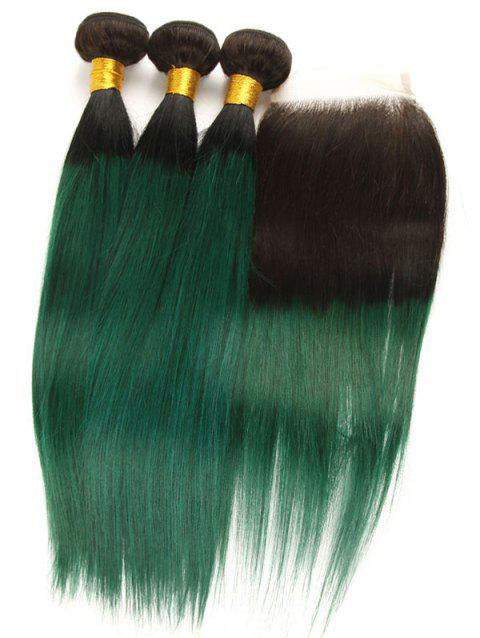 3Pcs Ombre Straight Real Human Hair Weaves with Lace Closure - multicolor 16INCH X 16INCH X 16INCH X CLOSURE 14INCH