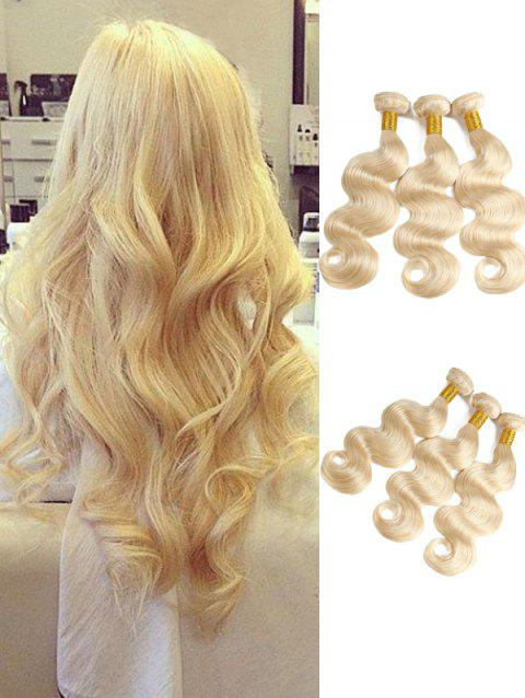 3Pcs Real Human Hair Body Wave Hair Weaves - BLONDE 14INCH X 14INCH X 14INCH