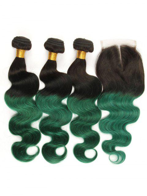 3Pcs Ombre Body Wave Real Human Hair Weaves with Lace Closure - multicolor 14INCH X 14INCH X 14INCH X CLOSURE 12INCH