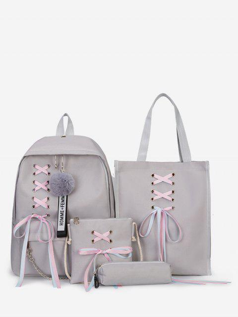 4Pcs Ribbon Bowknot and Fluffy Ball Backpack - LIGHT GRAY