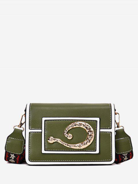 Embroidery Shoulder Girdle Splicing Crossbody Bag - SEAWEED GREEN