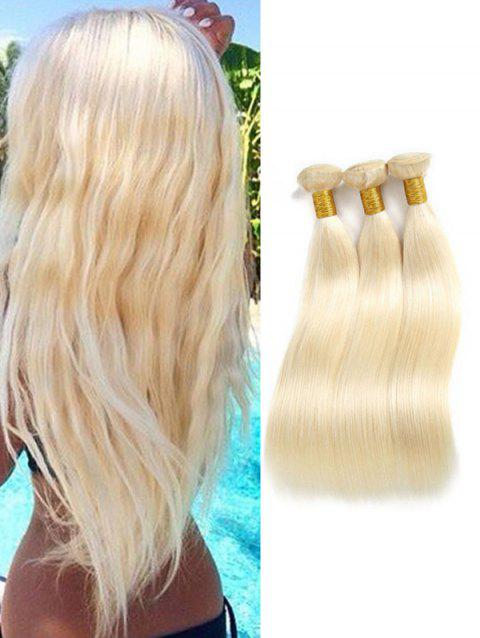 Human Hair Straight 3Pcs Brazilian Virgin Hair Weaves - BLONDE 14INCH X 14INCH X 14INCH