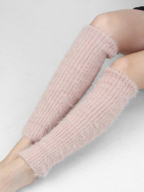 Winter Solid Color Fuzzy Leg Warmers - PINK