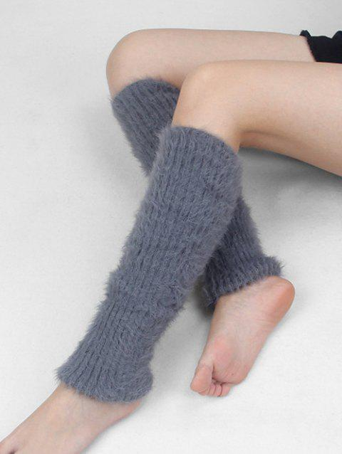 Winter Solid Color Fuzzy Leg Warmers - GRAY