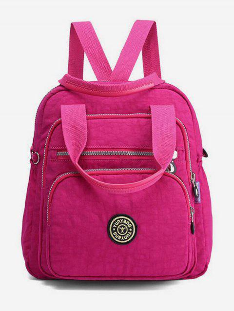 Top Handle Front Pocket Canvas Backpack - ROSE RED