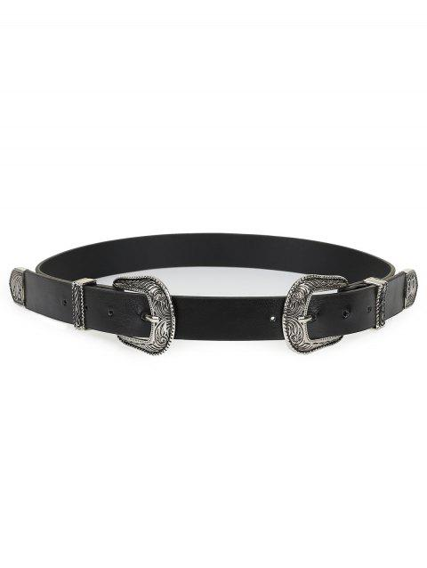 Double Metal Buckle Faux Leather Waist Belt - BLACK
