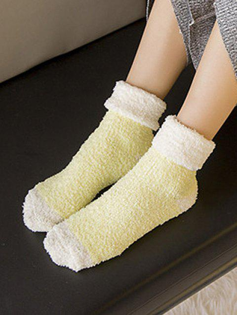 Color Block Fuzzy Floor Socks - YELLOW