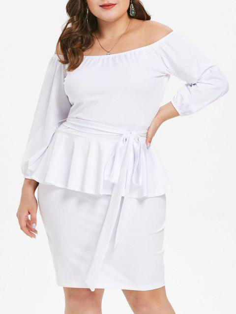 Plus Size Off The Shoulder Peplum Dress - WHITE 3X