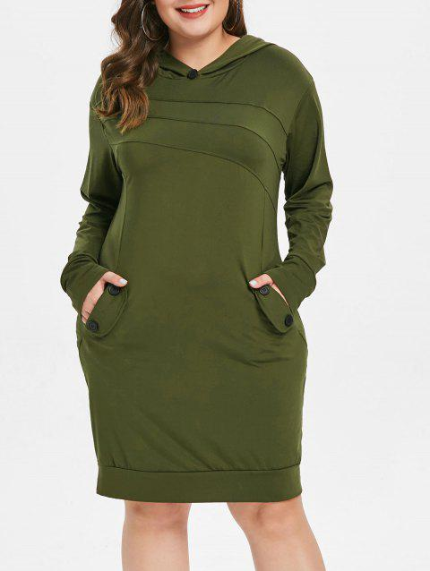 Plus Size Pockets Embellished Hooded Dress - ARMY GREEN 3X