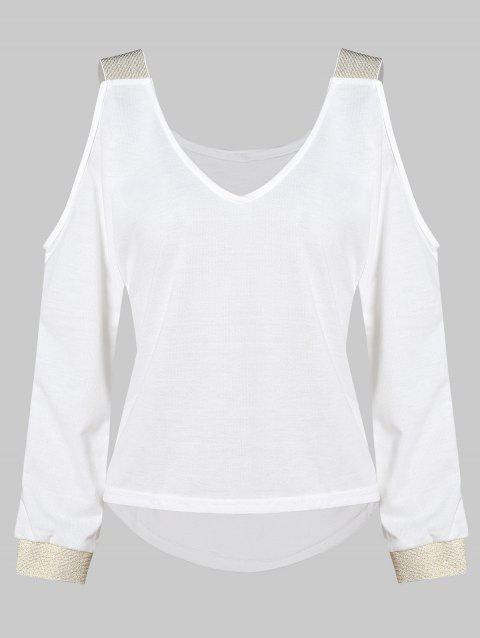 Contrast Cold Shoulder V Neck Knitwear - WHITE L