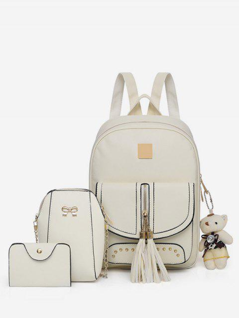 3 Pieces Tassels Decorative Backpack Set - WARM WHITE