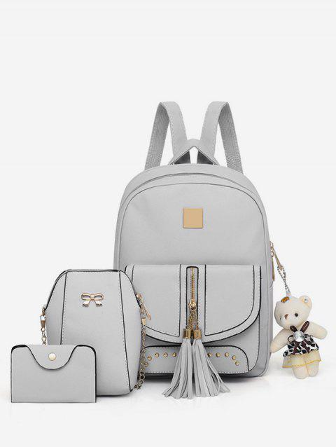 3 Pieces Tassels Decorative Backpack Set - GRAY CLOUD