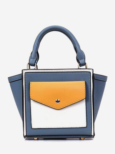 Color Block PU Wing Tote Bag - BLUE IVY