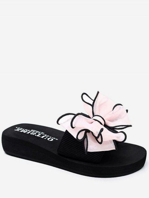 Ribbon Bow Decorative Platform Slides - PIG PINK EU 36