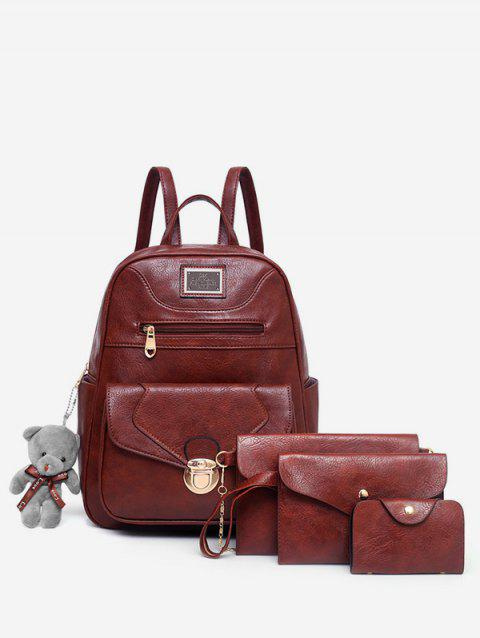 4 Pieces Bear Decorative PU Backpack Set - RED DIRT