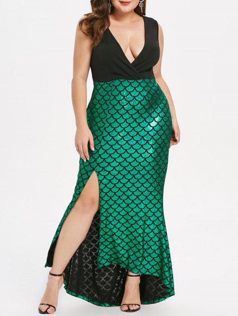 Plus Size Fish Scale Asymmetric Slit Surplice Dress - DEEP GREEN 4X