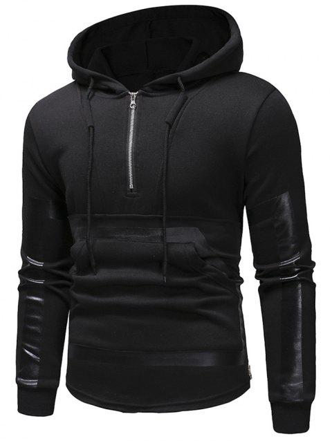 Kangaroo Pocket Zipper Panel Pullover Hoodie - BLACK S