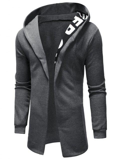 Letter Printed Long Sleeves Hoodie - GRAY XS