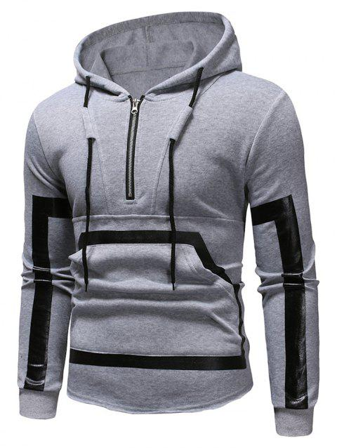 Kangaroo Pocket Zipper Panel Pullover Hoodie - LIGHT GRAY M