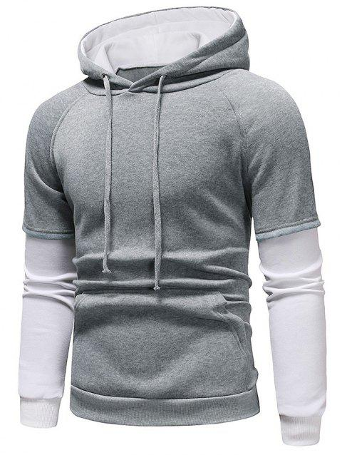 Color Block Panel Casual Pullover Hoodie - LIGHT GRAY S