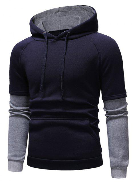 Color Block Panel Casual Pullover Hoodie - CADETBLUE M