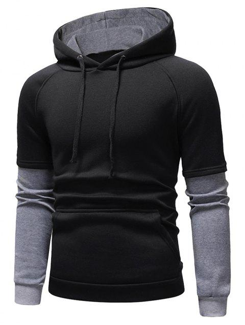 Color Block Panel Casual Pullover Hoodie - BLACK S