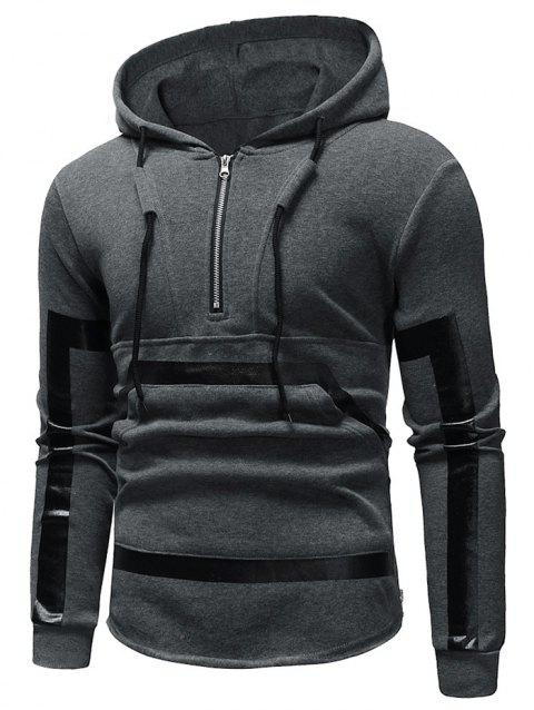 Kangaroo Pocket Zipper Panel Pullover Hoodie - GRAY XS