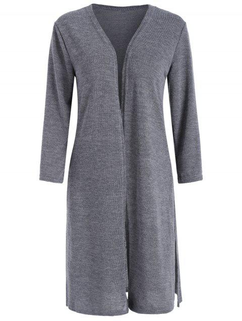 Open Front Side Slit Long Cardigan - LIGHT SLATE GRAY L