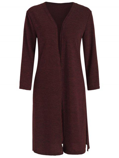 Open Front Side Slit Long Cardigan - RED WINE 2XL