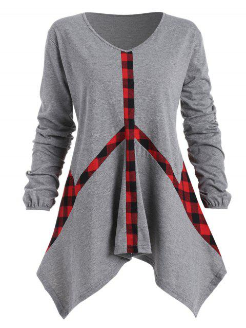 426a8f427ee 41% OFF  2019 Plaid Panel Plus Size Asymmetrical T-shirt In GRAY 1X ...