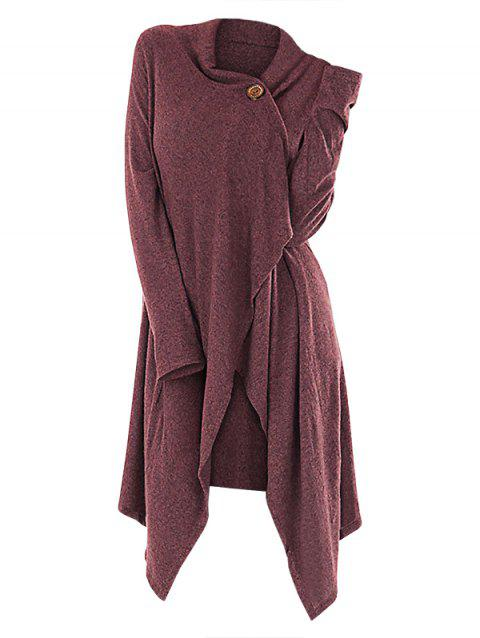 Cardigan long asymétrique à un bouton - Rose Timide M